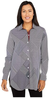 Lysse Schiffer Stretch Microfiber Button-Down with Contrast Inner Cuff (Geo Stripe) Women's Clothing