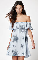 La Hearts Off-The-Shoulder Embroidered Dress