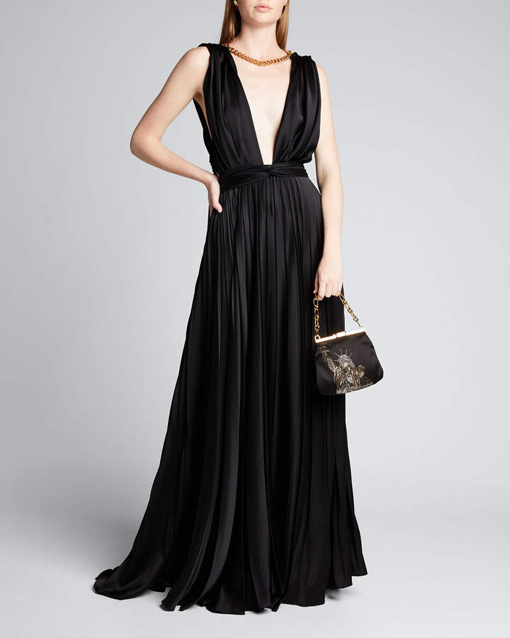 Oscar de la Renta Chain-Neck Pleated Gown