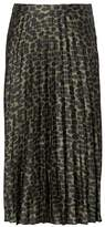 Banana Republic Animal Print Pleated Midi Skirt