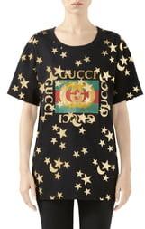 Gucci Star & Moon Logo Print Cotton Tee