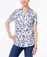 Karen Scott Petite Cotton Printed Swiss-Dot Shirt, Only at Macy's