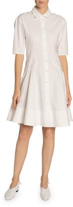Proenza Schouler White Label Cotton-Linen Button-Front Fit-&-Flare Dress