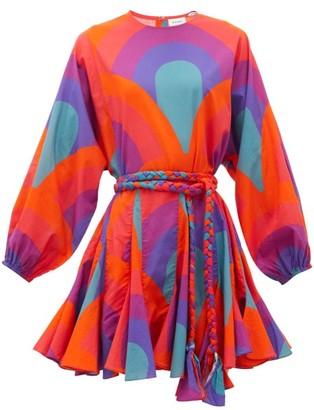 Rhode Resort Ella Rainbow-print Cotton Mini Dress - Womens - Red Print