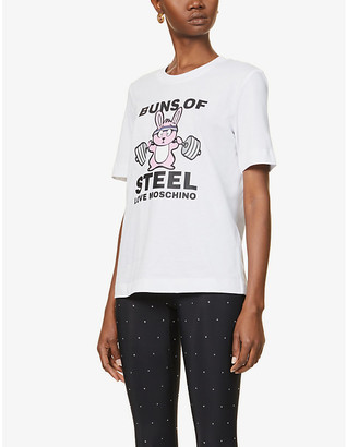 Love Moschino Slogan-print cotton-jersey T-shirt