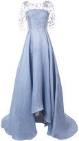 Marchesa flower embellished flared gown - women - Silk - 6