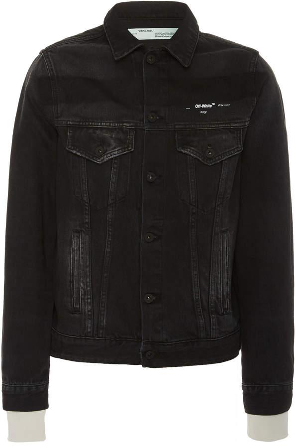 Off-White Printed Slim-Fit Denim Jacket