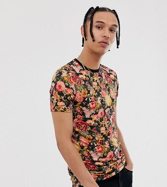 Asos Design DESIGN TALL skinny fit t-shirt with all over floral and back print-Multi