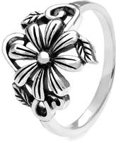 John Greed Sterling Silver Flower Scroll Ring