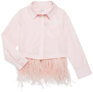 Milly Little Girl's Ostrich Feather-Trimmed Shirt