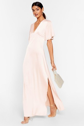 Nasty Gal Womens We Didn't V You There Satin Maxi Dress - Pink - 12