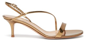 Gianvito Rossi Manhattan 55 Metallic Leather Sandals - Gold
