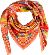 Matthew Williamson Peach Floral Montage Silk Scarf