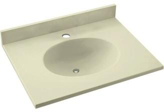 "Swan Ellipse Solid Surface 25"" Single Bathroom Vanity Top Top Finish: Bone"