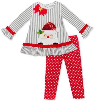 Rare Editions Little Girls 2-Pc. Santa Top & Printed Leggings Set