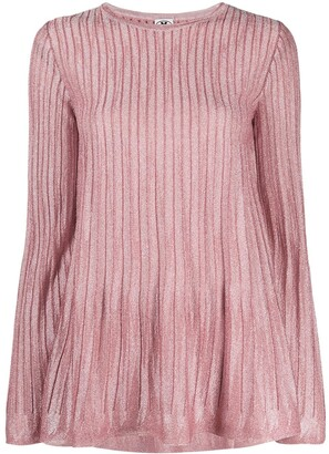 M Missoni Ribbed Knit Long-Sleeved Top