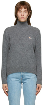 MAISON KITSUNÉ Grey Wool Fox Patch Turtleneck