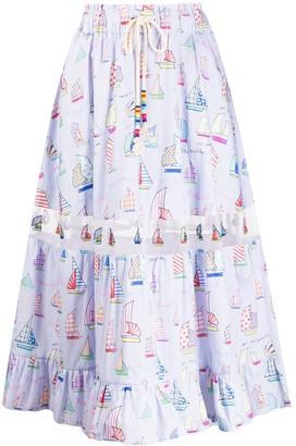 Mira Mikati Sail Boat Print Midi Skirt