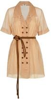 Fendi Gingham Silk Organza Shirtdress