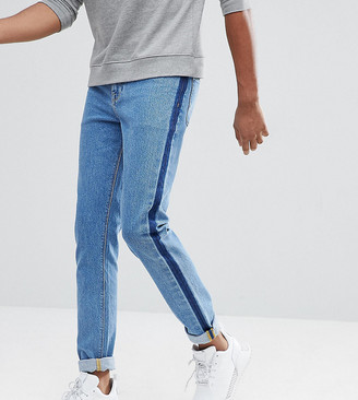 Asos TALL Skinny Jeans In Mid Wash Blue With Side Stripe