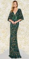 Mac Duggal Sparkling Fully Embellished Capelet Column Evening Dress