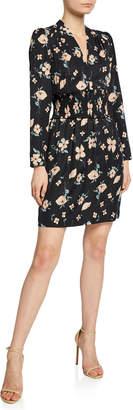 Rebecca Taylor Daniella Floral-Print Long-Sleeve Smocked-Waist Dress
