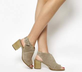 Office Mysterious Block Heel Sandals Taupe Suede
