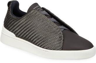 Ermenegildo Zegna Men's Woven Leather Low-Top Sneakers