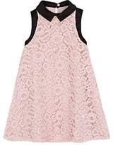 Lanvin KIDS' SATIN-COLLAR FLORAL-LACE SHIFT DRESS