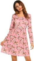 Meaneor Women's Floral Print Casual Long Sleeve A line Tunic Top Dress