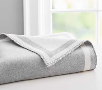 Pottery Barn Kids Fuzzy Border Baby Blanket, Stroller Blanket, Grey