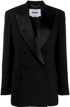 MSGM Satin-Lapel Double Breasted Blazer