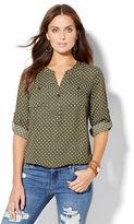 New York & Co. Soho Soft Shirt - Blouson-Hem Popover - Polka Dot