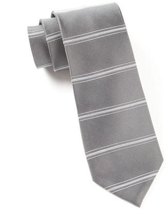 The Tie Bar Grey Ripon Horizontal Stripe Tie