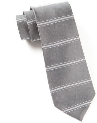Tie Bar Ripon Horizontal Stripe Grey Tie