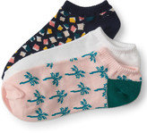 3-Pack Solid, Palm Tree & Confetti Ankle Socks
