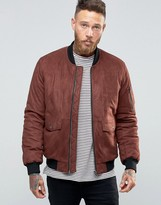 Asos Faux Suede Bomber with Patch Pocket In Burgundy