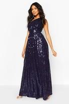 boohoo Bridesmaid Occasion Shoulder Sequin Maxi Dress