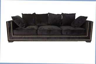 Alliance Furniture Emma 3.5 Seat Sofa Black Velvet