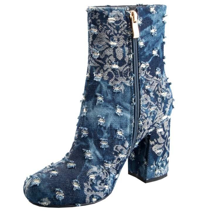 bba0108b69dcc Artfaerie Womens Denim High Heel Boots Block Heel Ankle Boots Zipped Ladies  Winter Warm Shoes(US 9, )