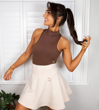 Puma x Stef Fit mini skirt with foldable waist in sand - Exclusive to ASOS