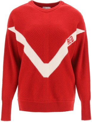 RED Valentino sweater with red embroidery
