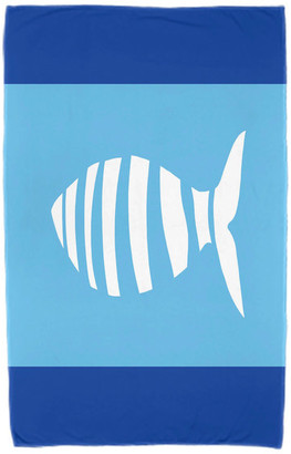 "E By Design 30""x60"" Puzzle Fish, Animal Print Beach Towel, Navy Blue"