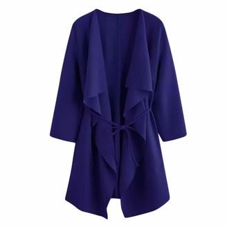 Homebaby Women Coat HOMEBABY Women Loose Long Open Front Cardigan Ladies Casual Jacket Waterfall Collar Pocket Coat Lightweight Long Sleeve Tops Outwear Wine Red