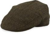 Neiman Marcus Ivy Tweed Driver Hat, Black/Olive