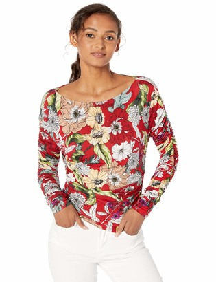 GUESS Women's Long Sleeve Zion Ruched Top