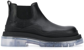 Bottega Veneta Transparent Rubber Sole Ankle Boots