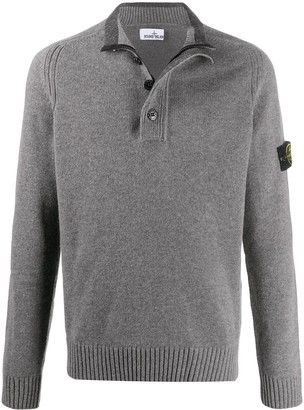 Stone Island Button-Up Long-Sleeved Jumper