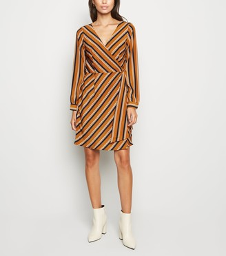 New Look Brave Soul Stripe Long Sleeve Wrap Dress