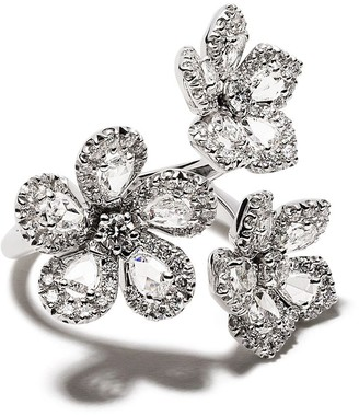 David Morris 18kt white gold diamond Miss Daisy triple flower ring